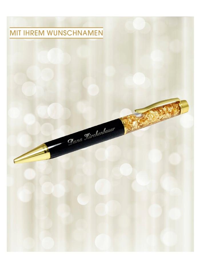 Kugelschreiber, Glittergold mit Namen