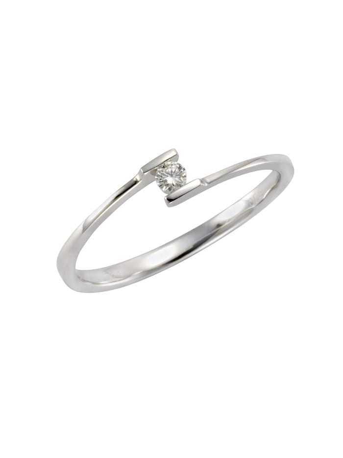 Ring 585/- Gold Brillant weiß Brillant Glänzend 0.06Karat 585/- Gold