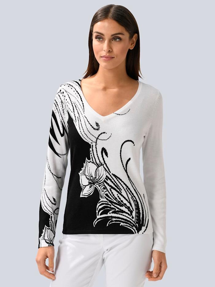 Alba Moda Pullover in floralem Dessin, Weiß/Schwarz