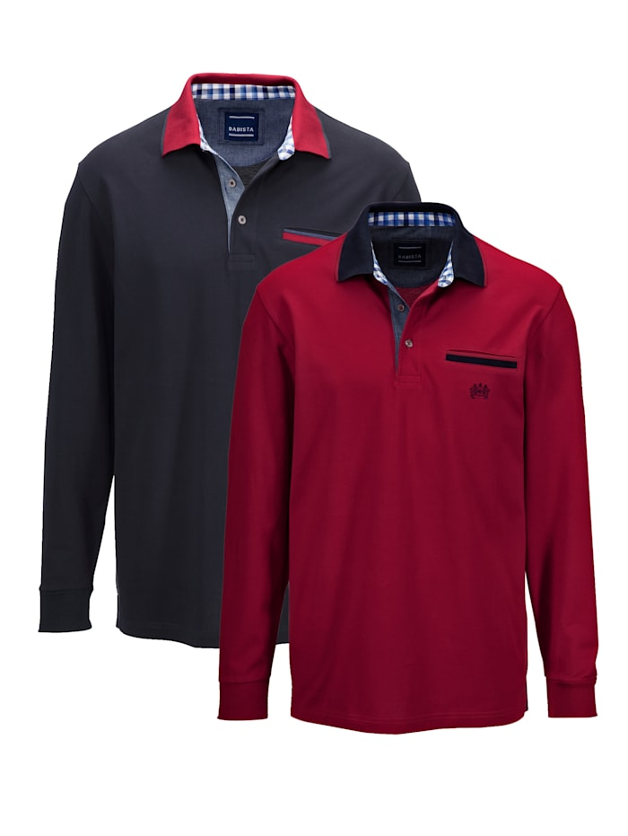 BABISTA Poloshirts per 2 met contrastkleurige kraag, Bordeaux/Marine