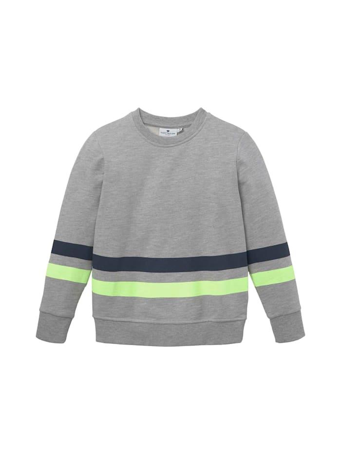 Tom Tailor Sweatshirt mit platziertem Print, drizzle melange gray