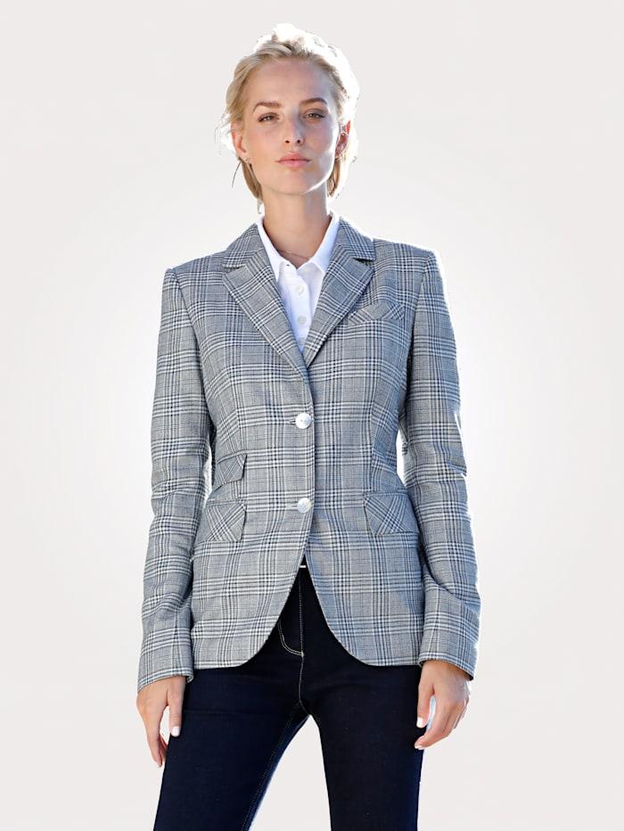 Longline blazer in a glen check pattern