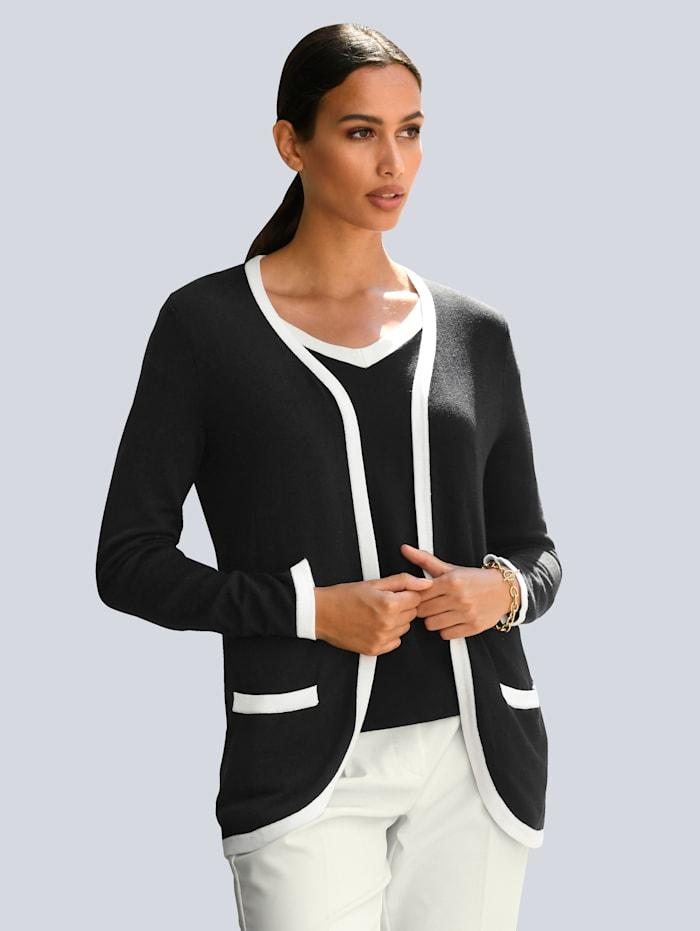 Alba Moda Vest met contrastkleurige piping, Marine/Offwhite