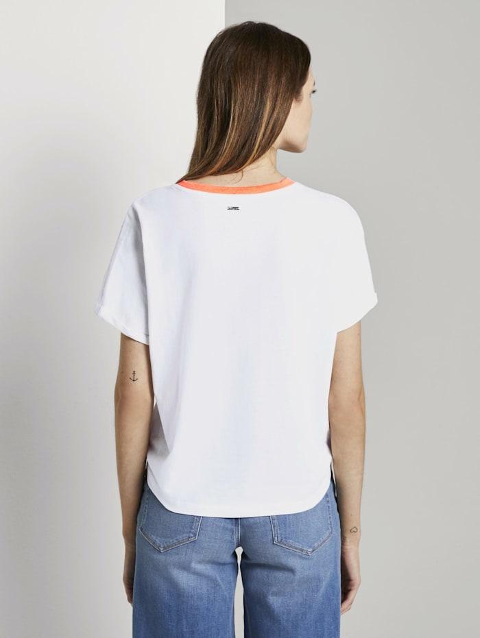 Kurzes T-Shirt mit Knotendetail und Print