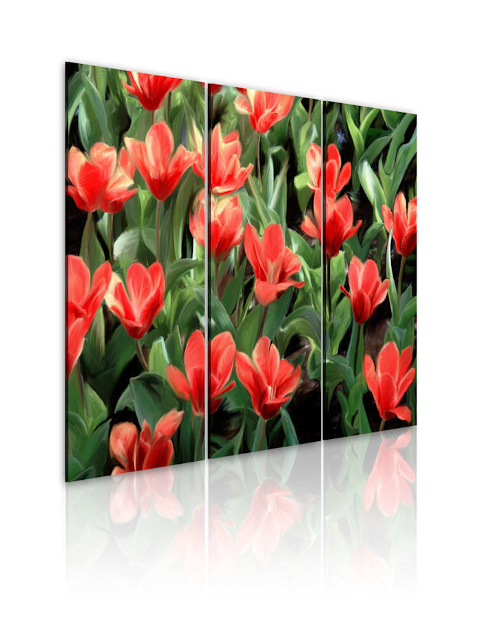artgeist Wandbild Rote Tulpen in der Blüte, Braun,Grün,Rot