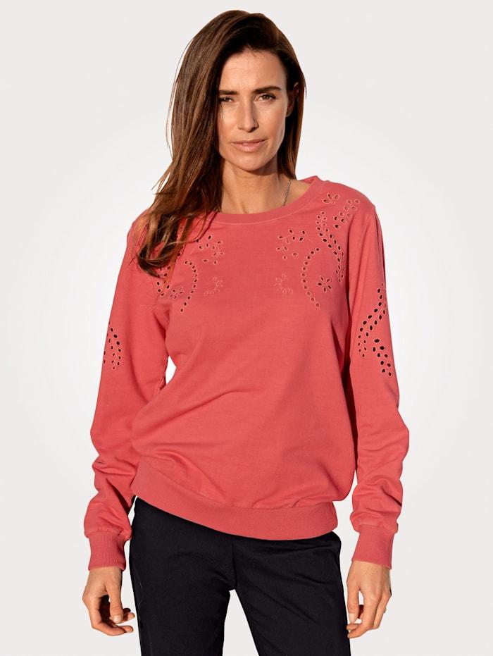 MONA Sweatshirt mit platzierten Häkeleinsätzen, Altrosa
