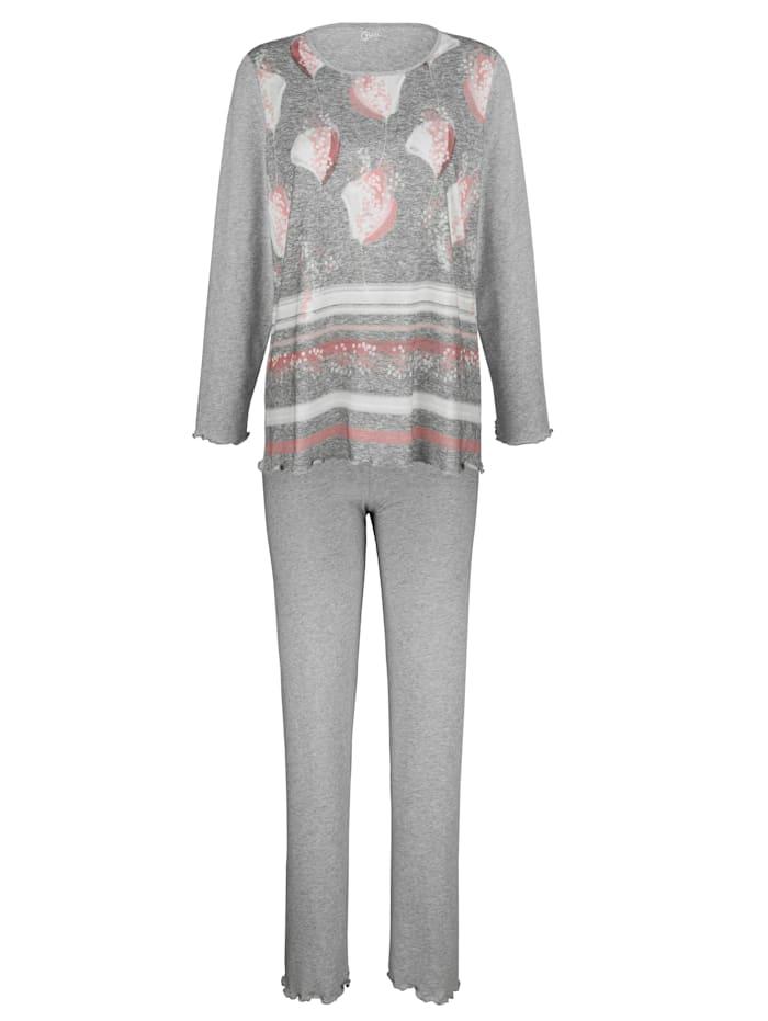Naturana Schlafanzug mit hübschem Wellensaumabschluss, Grau/Ecru/Rosenholz