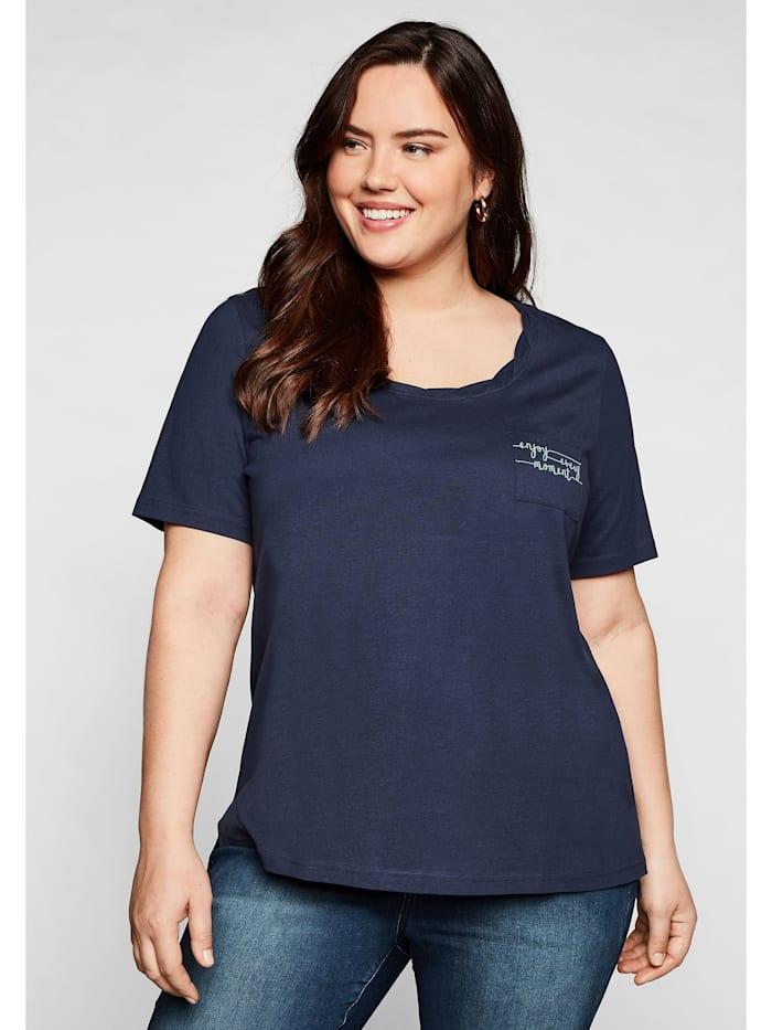 Sheego Sheego T-Shirt mit dekorativem Rundhalsausschnitt, marine