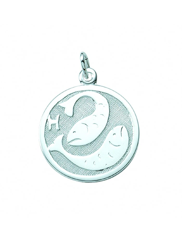 1001 Diamonds Damen & Herren Silberschmuck 925 Silber Sternzeichen Anhänger Fisch Ø 15,7 mm, silber