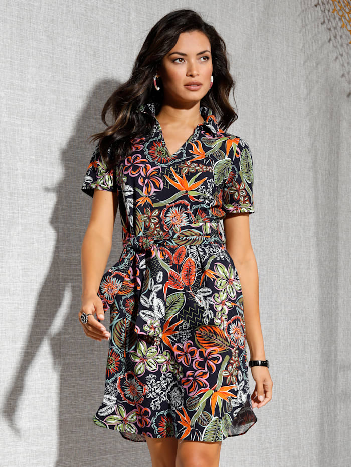AMY VERMONT Kleid mit floralem Muster allover, Schwarz/Orange/Grün