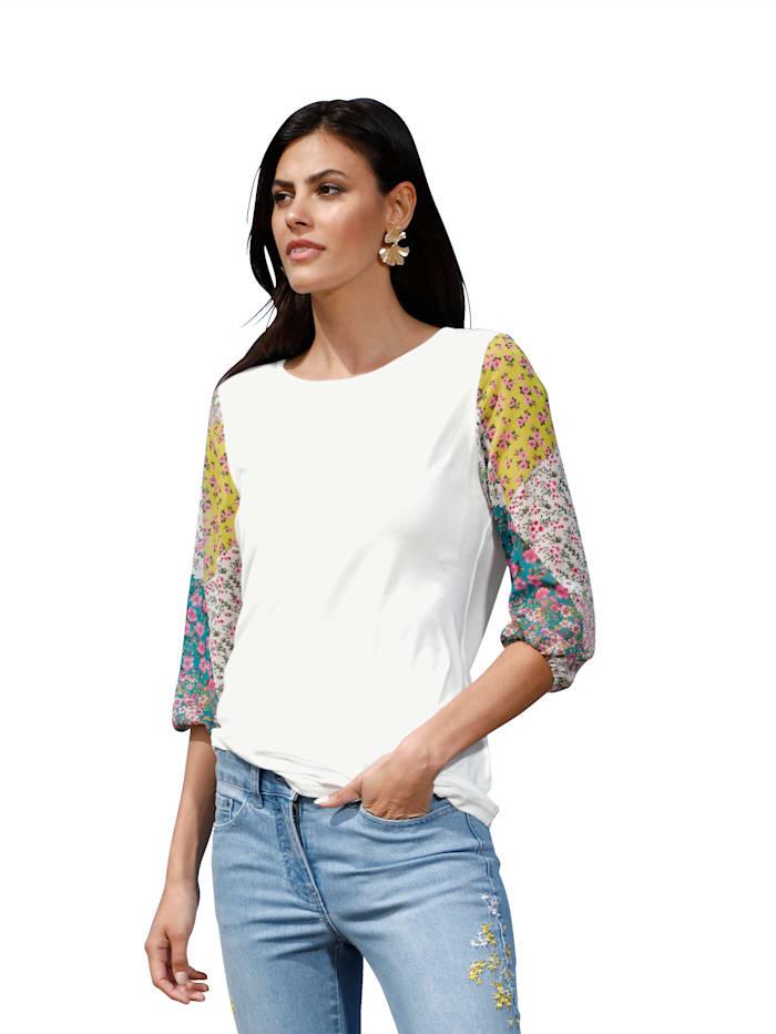 AMY VERMONT Shirt mit gemusterten Ärmeln, Gelb/Weiß/Grün/Rosé