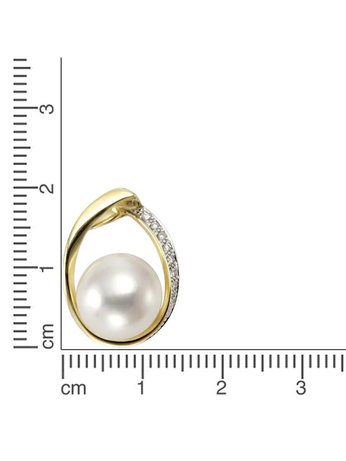 Anhänger 585/- Gelbgold Perle Brillanten 585/- Gold Süßwasserzuchtperle weiß 1,95cm Glänzend 0,045ct