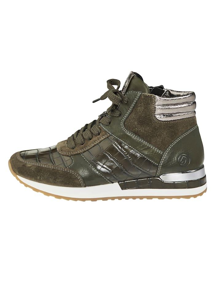 High Sneaker in edlem Materialmix