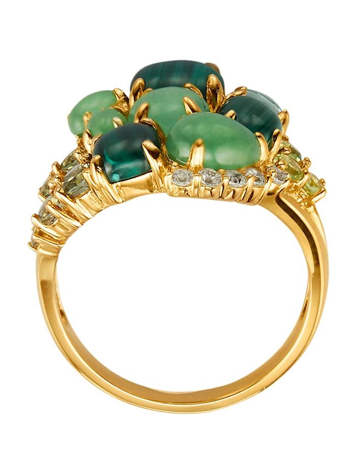 Ring med malakit, jade, moldavit, peridot, ametist och cubic zirconia