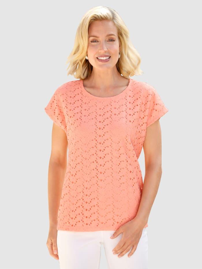 Paola T-shirt à dentelle florale, Abricot