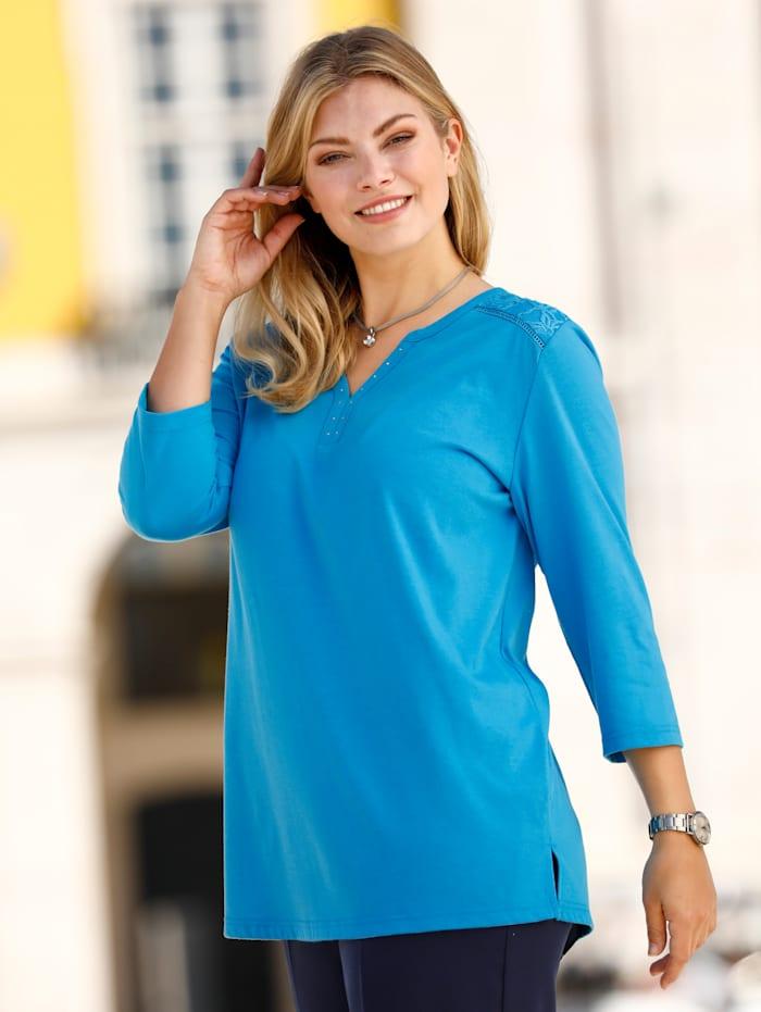 m. collection Shirt mit Spitze im Schulterbereich, Türkis
