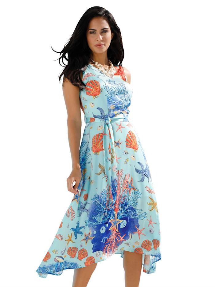 Kleid mit Aqua-Druck und Zipfelsaum