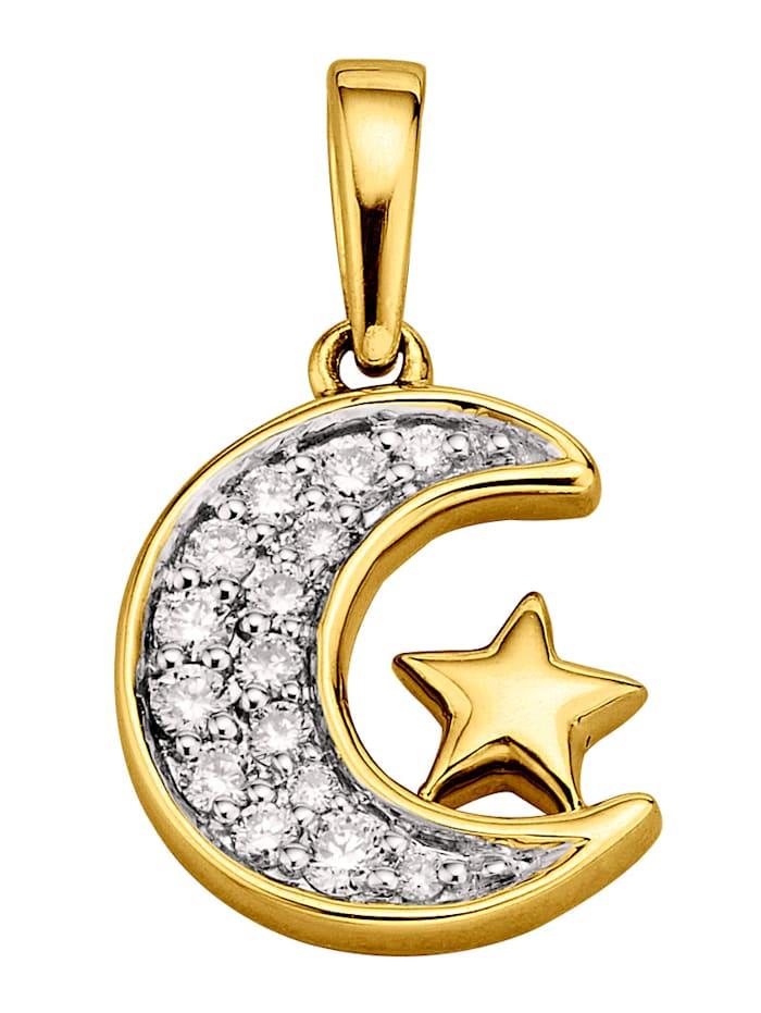 Amara Highlights Pendentif Lune/Étoile avec brillants, Coloris or jaune