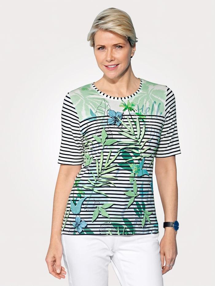 Rabe Shirt mit funkelnden Strasssteinen, Weiß/Grün/Blau