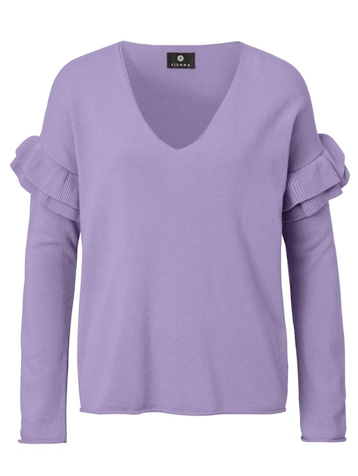 SIENNA Pullover mit Rüsche und tiefem V-Ausschnitt, Lavendel