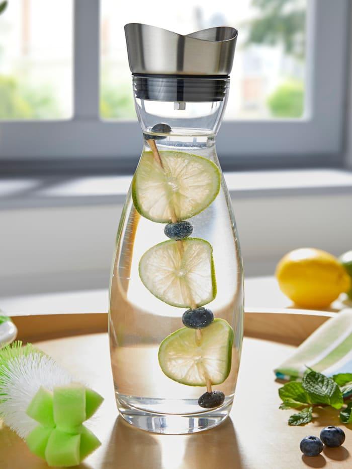 HELU Carafe en verre, Incolore/coloris argenté