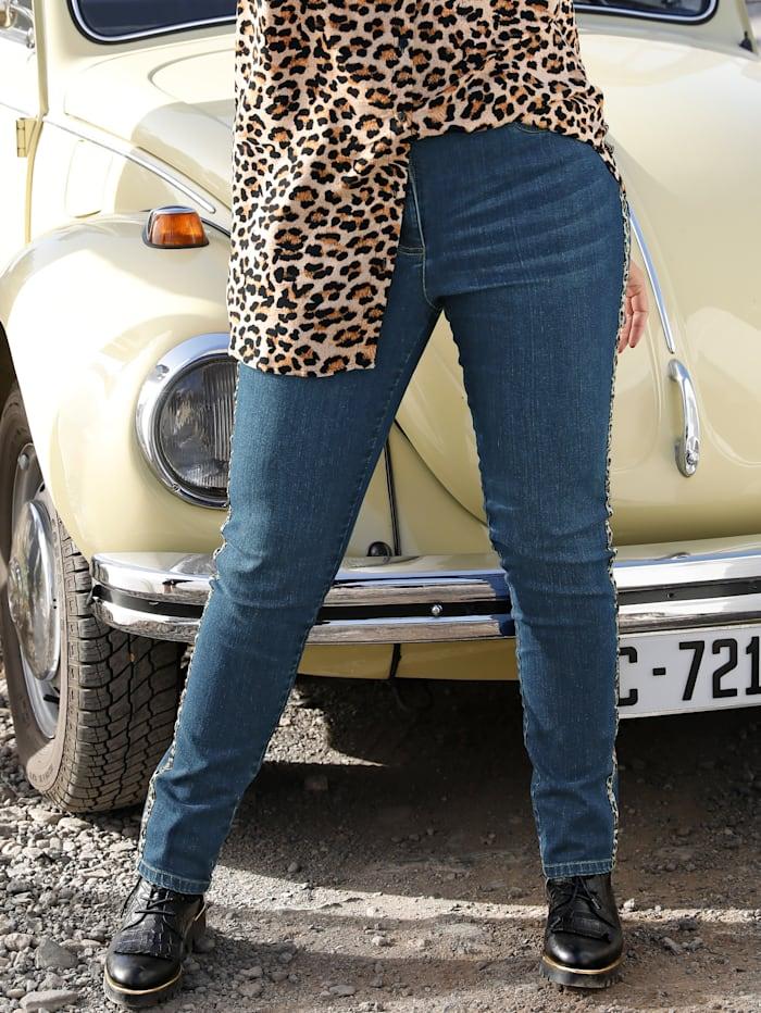 MIAMODA Jeans met modieus piping, Dark blue