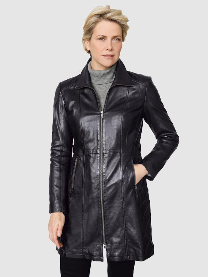 MONA Kožená bunda s módními švy, Černá