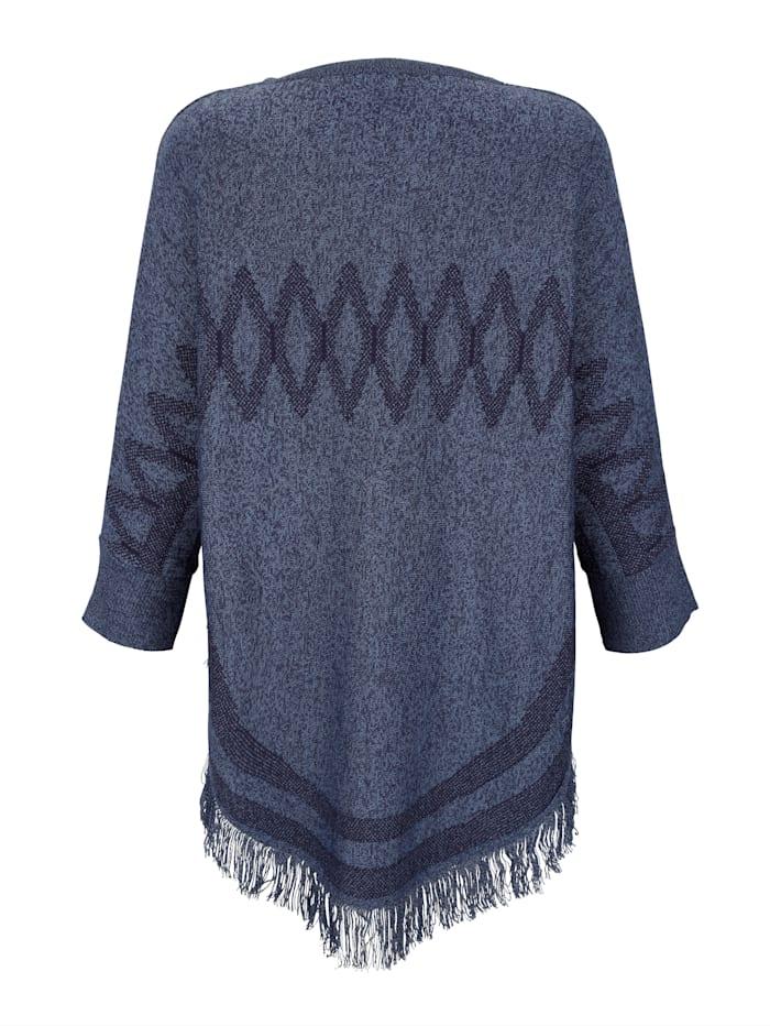 Poncho med frynsekant fint strikket mønster
