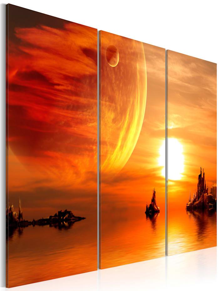 artgeist Wandbild Utopischer Sonnenuntergang, Creme,Orange,Rot,Gelb