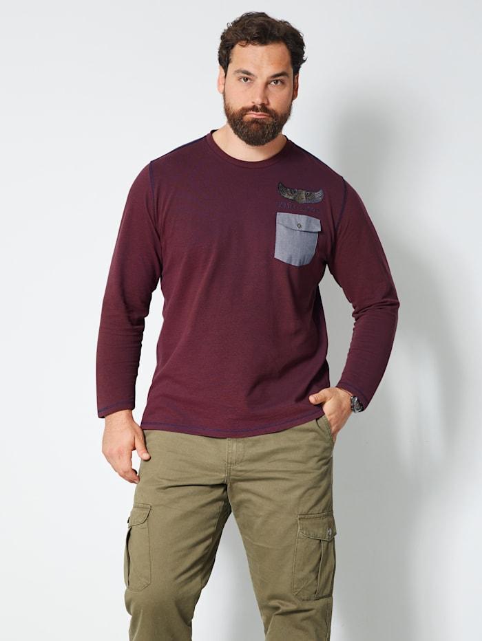 Men Plus Langarmshirt mit einer Brusttasche, Bordeaux/Marineblau