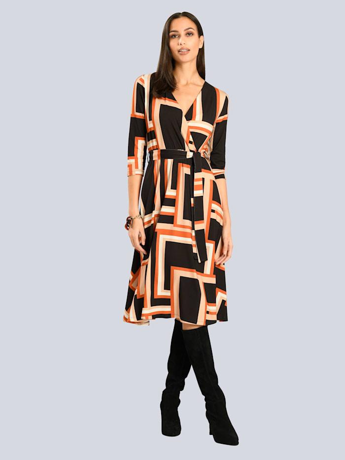 Alba Moda Kleid in femininer Wickeloptik, Schwarz/Orange