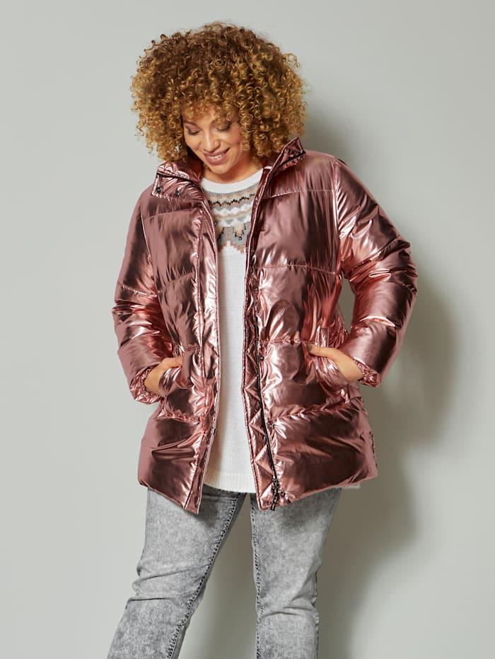 Angel of Style Gewatteerde jas met glans, Oudroze