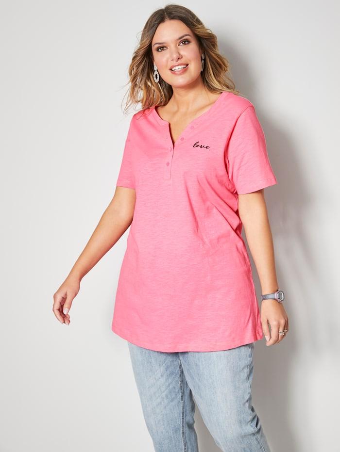 Janet & Joyce Shirt mit kleiner Schriftzug-Stickerei, Pink