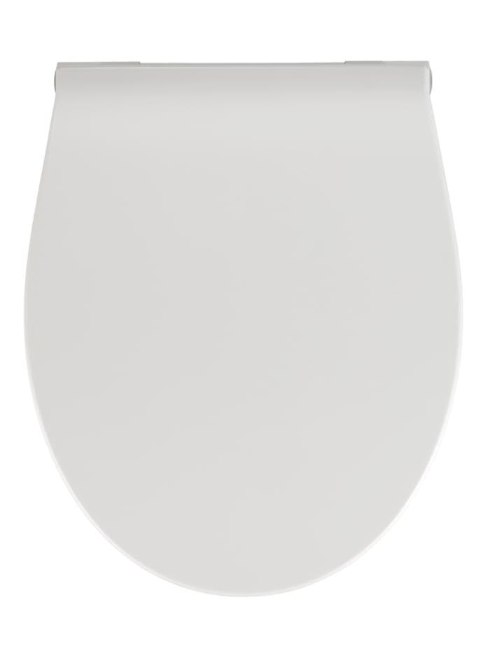 Wenko Premium WC-Sitz LED, aus antibakteriellem Duroplast mit Nachtlicht und Akustiksensor, Weiß, Befestigung: Silber matt