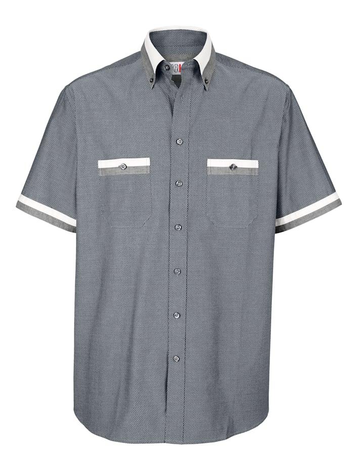 Roger Kent Overhemd met button-downkraag, Wit/Grijs