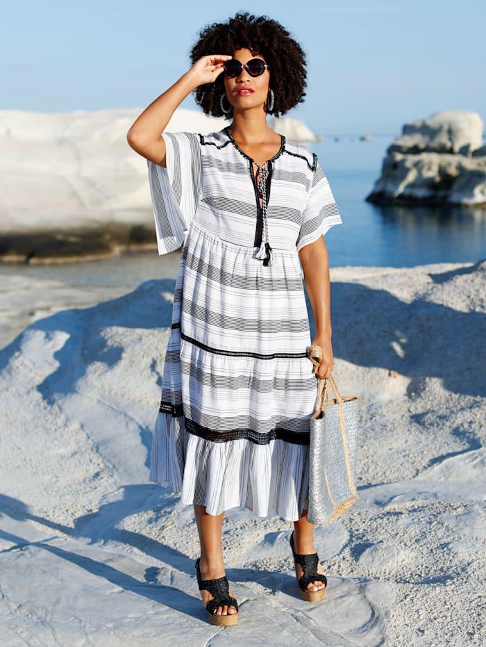 Angel of Style Robe à détails en dentelle crochetée, Blanc cassé/Noir