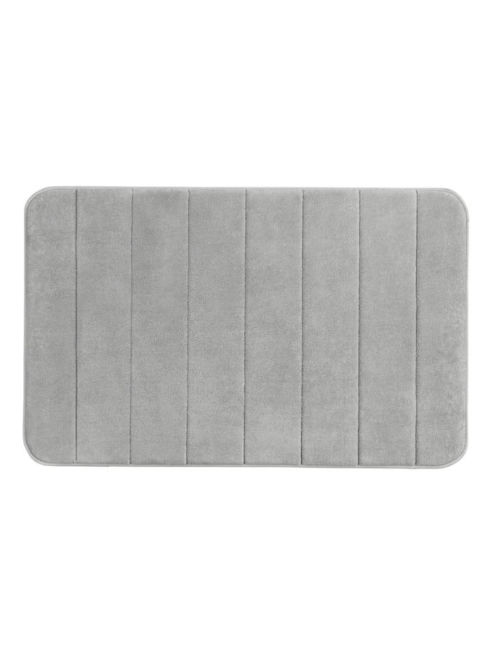 Wenko Badteppich Memory Foam Stripes, Light Grey, 50 x 80 cm, Oberfläche: Grau - Hellgrau, Füllung, Rückseite