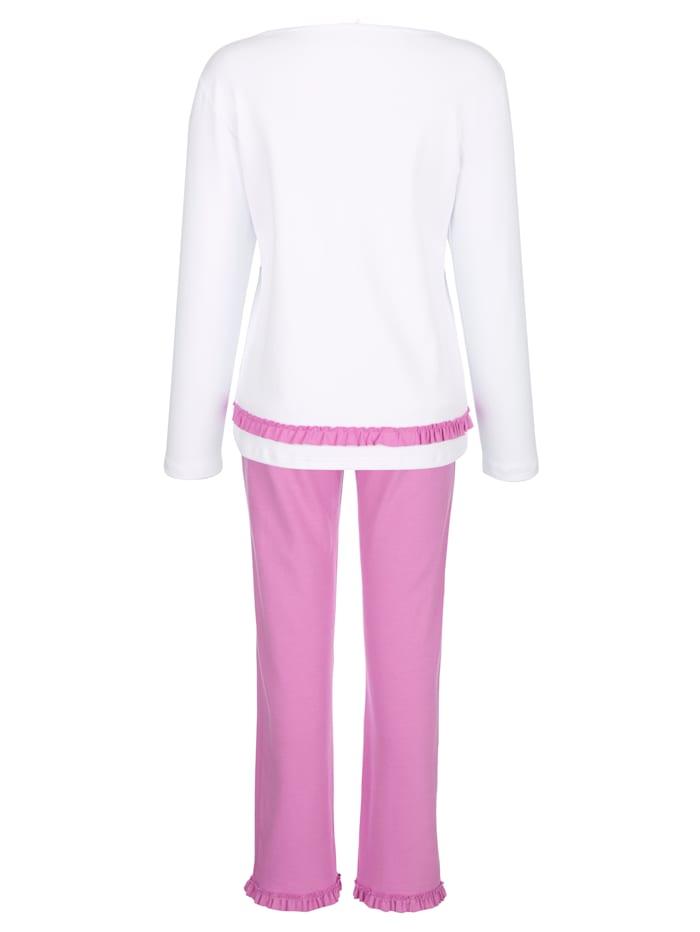Pyjama avec empiècement volanté romantique
