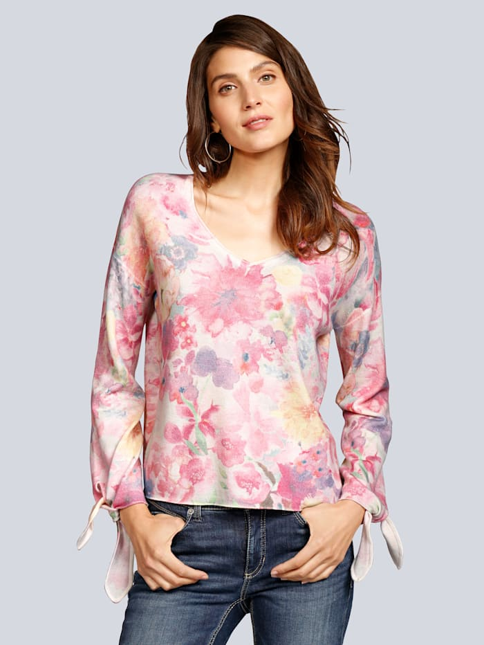 Princess GOES HOLLYWOOD Pullover mit Blumen in Aquarelloptik, Rosé