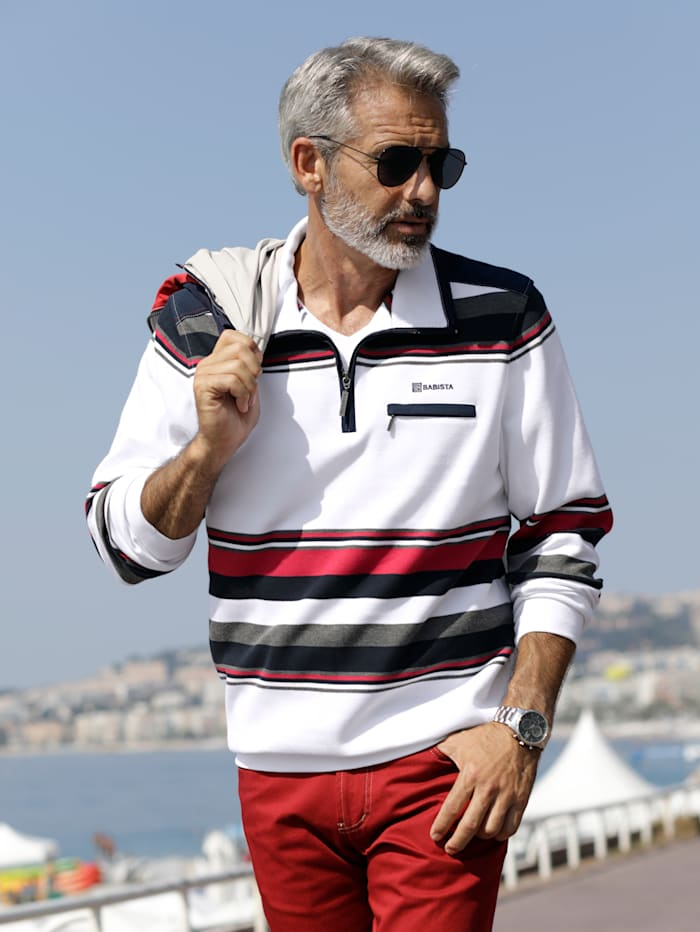 BABISTA Sweatshirt mit garngefärbtem Streifendessin, Weiß/Rot/Blau