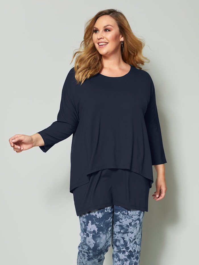 Sara Lindholm Shirt in 2in1-Optik, Marineblau