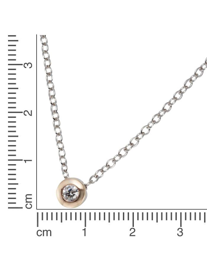 Collier 925/- Sterling Silber Zirkonia weiß 41,5cm Glänzend