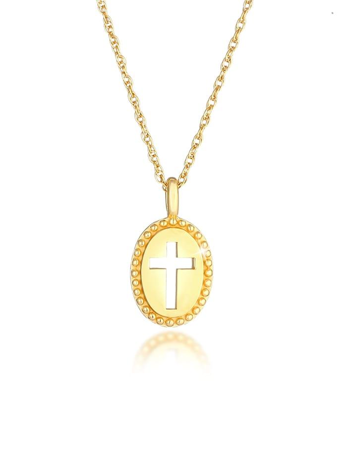 Elli Halskette Kreuz Symbol Oval Cut Out Vintage 925 Silber, Gold