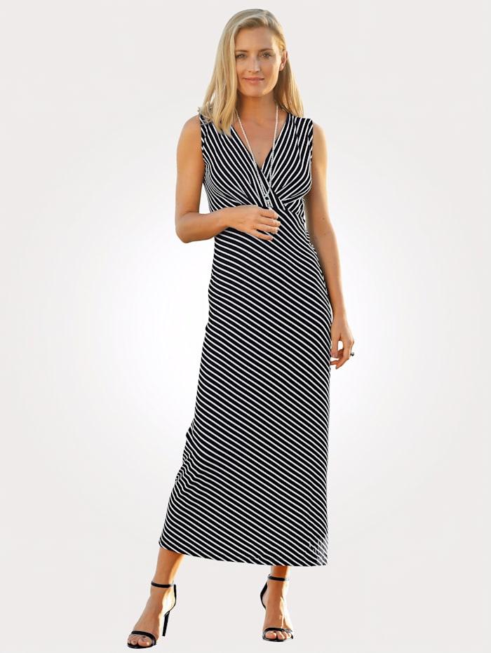 MONA Jerseykleid mit Streifendessin, Schwarz/Weiß