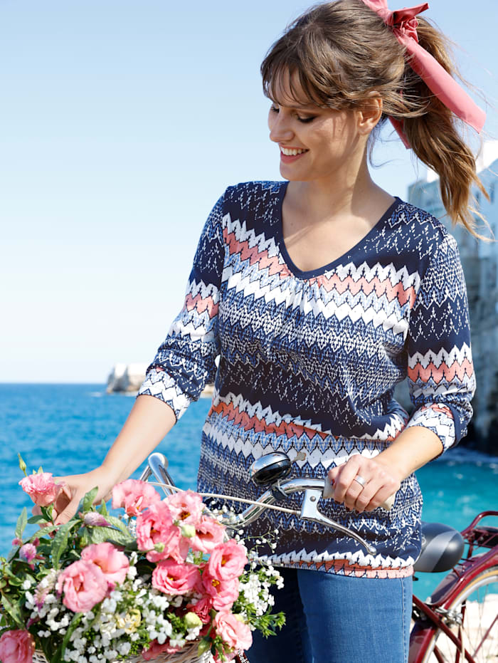 MIAMODA Shirt mit dezenter Raffung am Ausschnitt, Blau/Rosé