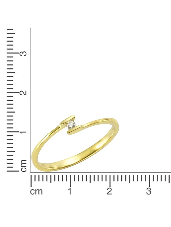 Ring 585/- Gold Brillant weiß Brillant Glänzend 0.03Karat 585/- Gold