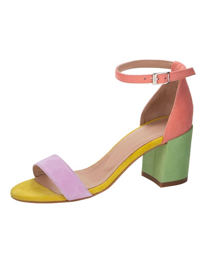 Gennia Sandaaltje met modieuze blokhak, Multicolor