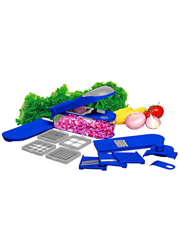 HSP Hanseshopping 16tlg. Obst- & Gemüseschneider-Set 'Dicer Pro', blau/grau
