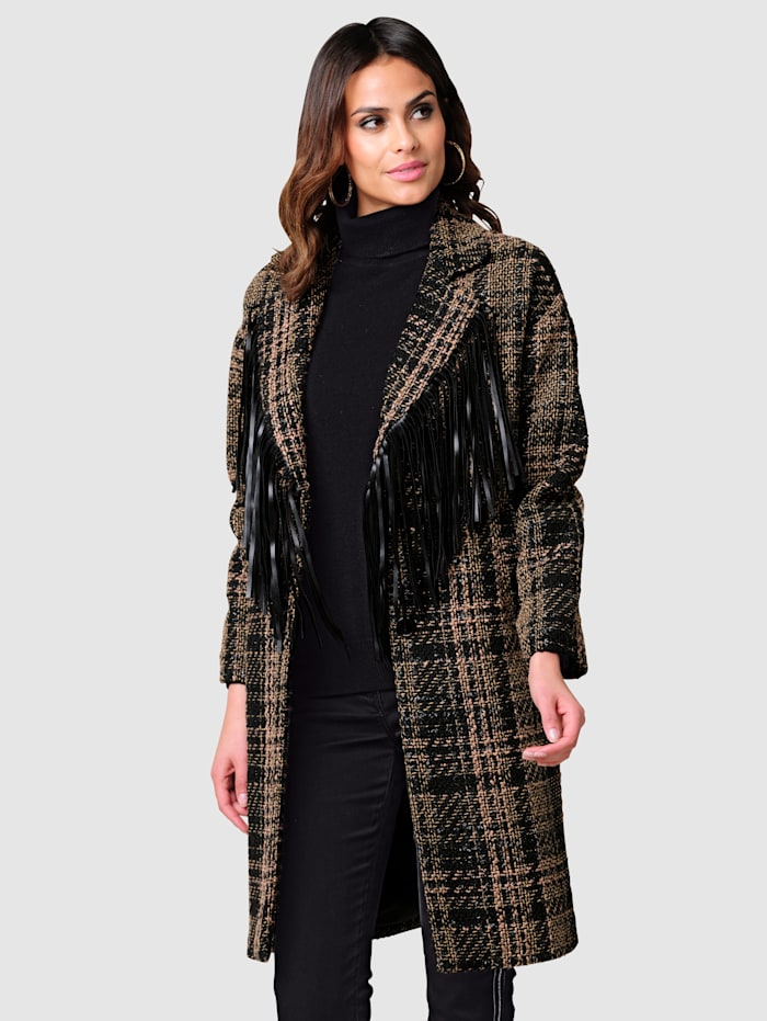 Alba Moda Manteau à longues franges en similicuir, Noir/Beige