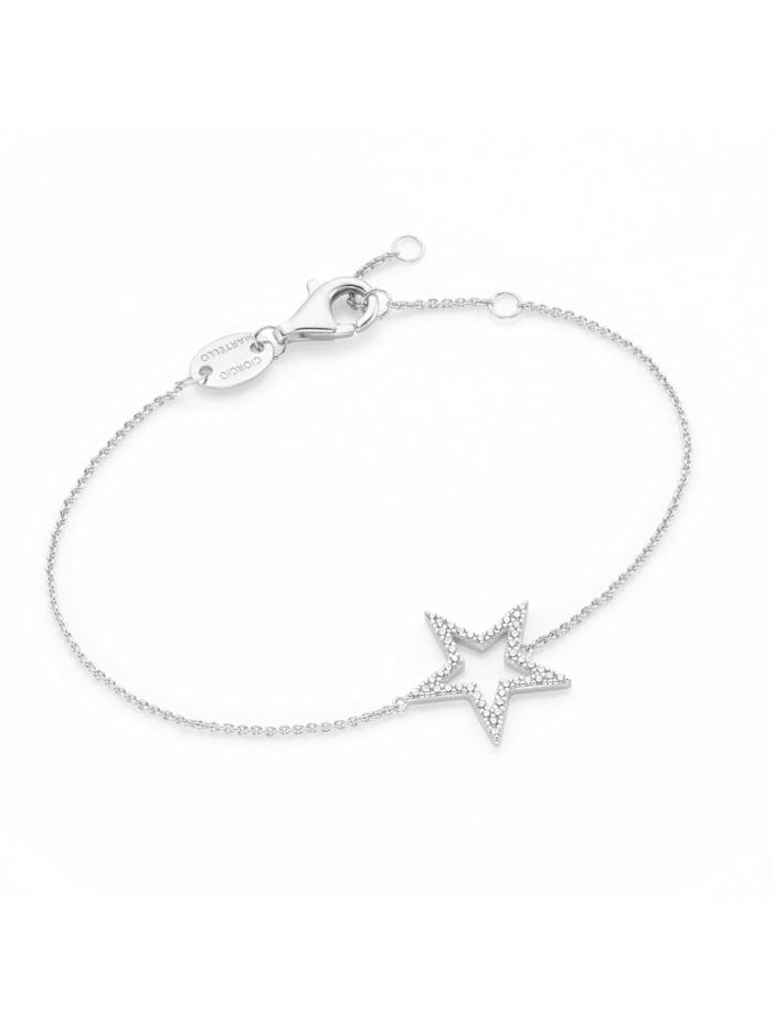 Giorgio Martello Armband Mittelteil Stern mit Zirkonia, Silber 925, Silber